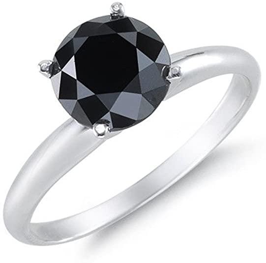 BuyFineDiamonds 1.00 carati anello di fidanzamento in oro bianco 9 K 4 artiglio rose taglio diamante nero.