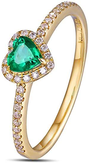 Aimsie - Anello da donna in oro 18 carati 750, a forma di cuore, con smeraldo da 0,3 ct, diamante da 0,15 ct