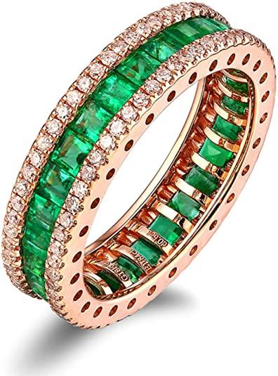 Aimsie - Anello da donna in oro 18 carati 750 con smeraldo 1,84 carati, anello di fidanzamento da 0,6 ct