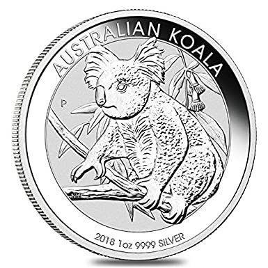 Australian Koala 2018 1 OZ (31,1 gr.) Argento 999 Silver Coin CAPSULA Moneta Perth Mint