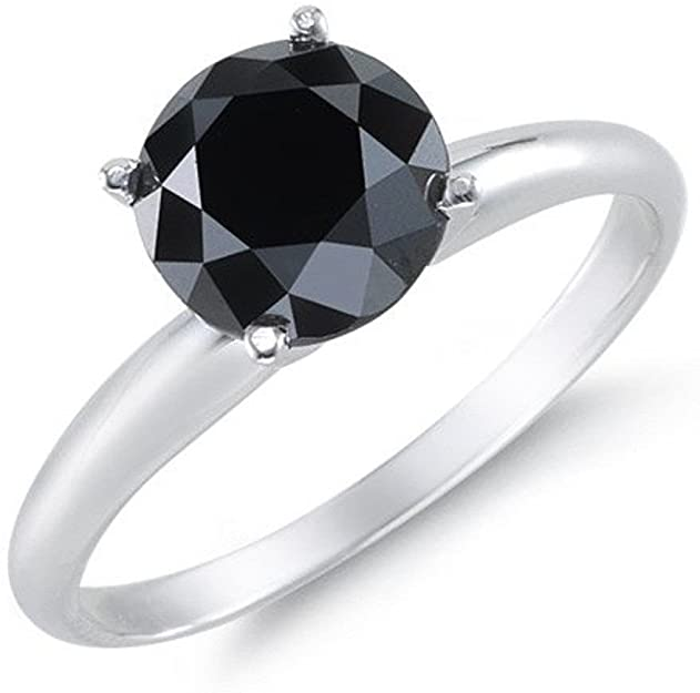 BuyFineDiamonds 1.00 carati anello di fidanzamento in oro bianco 9 K 4 artiglio rose taglio diamanti neri.