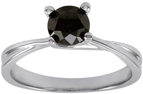 BuyFineDiamonds Anello di fidanzamento stupendo in oro bianco 9k con solitario, diamanti neri da 0,75k su incastonatura a 4 griffe