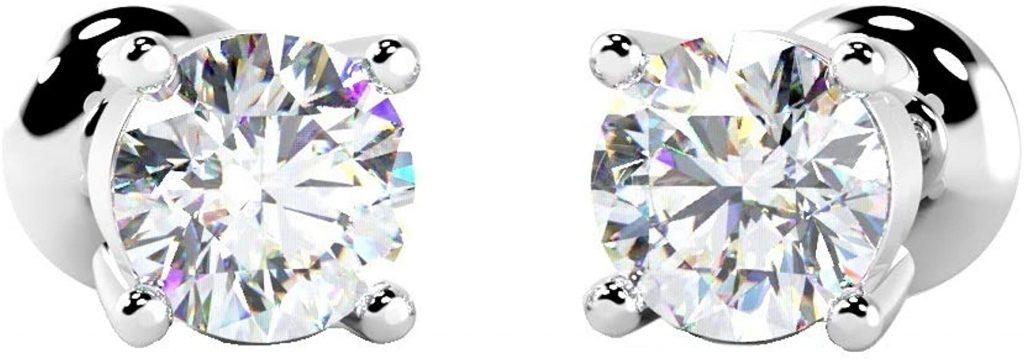 BuyFineDiamonds orecchini a perno, rotondi, con diamante, 18 ct, oro bianco, di qualità.