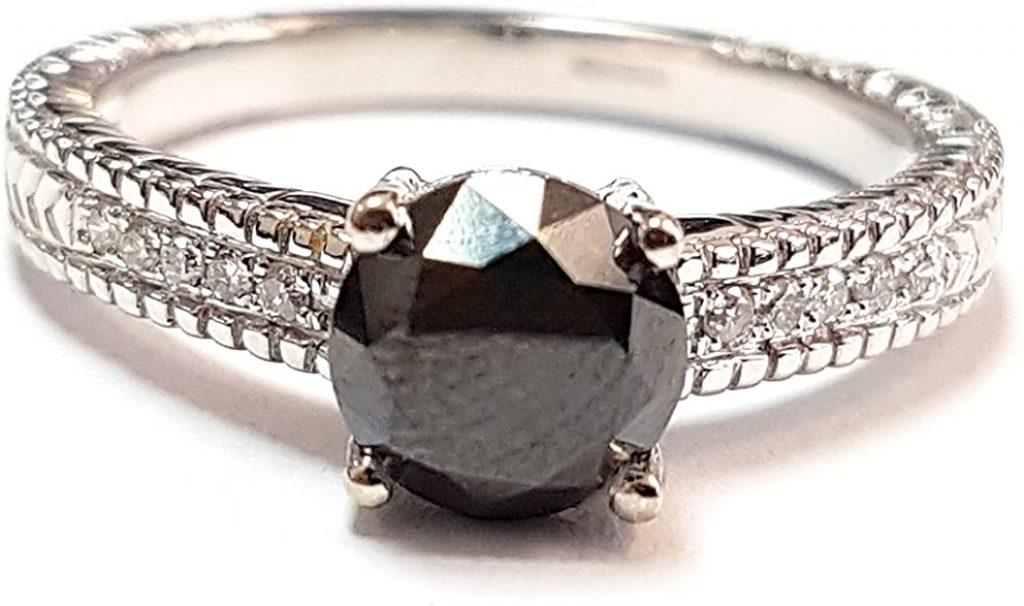 BuyFineDiamonds1.75 carati bianco e nero diamante anello di fidanzamento, heavy oro bianco