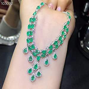 GMZTT Collana Classica di smeraldi Naturali, Stile Reale, Gemma di FAMA Mondiale, buona qualità, Argento 925.