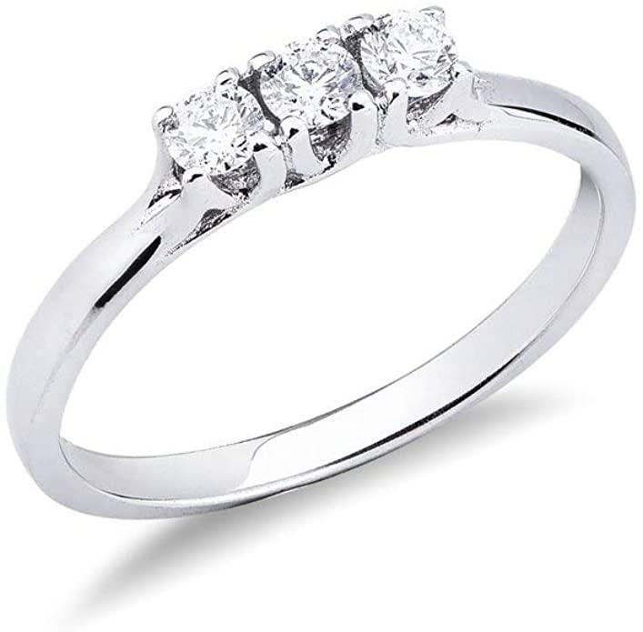 Gioielli di Valenza - Anello Trilogy intreccio in Oro bianco 18k con Diamanti ct. 0,30 - TR02030BB