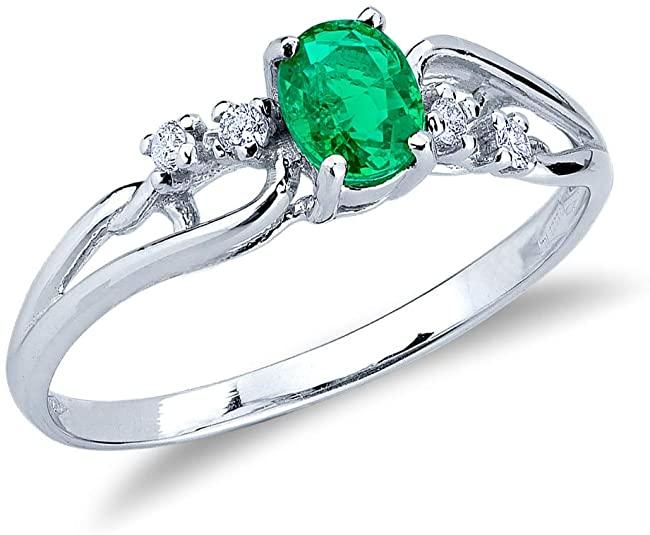 Gioielli di Valenza - Anello in Oro Bianco 18k con intreccio Smeraldo e Diamanti - ANN1080BBS - 13