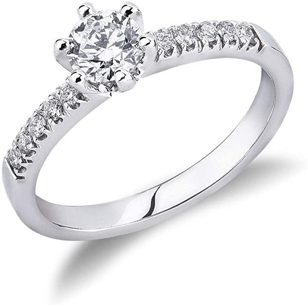 Gioielli di Valenza - Solitario in oro bianco 18k con Diamante ct. 0,50 - SO050BB-B