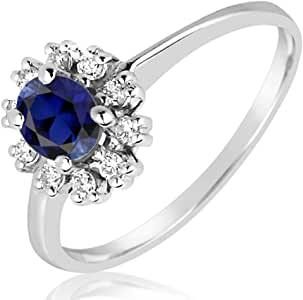 MILLE AMORI Anello Donna – Oro Bianco 9 Kt 375/1000 – Diamanti 0.12 carati – Zaffiro Blu Sintetico 0,5 kt – Gems Collection