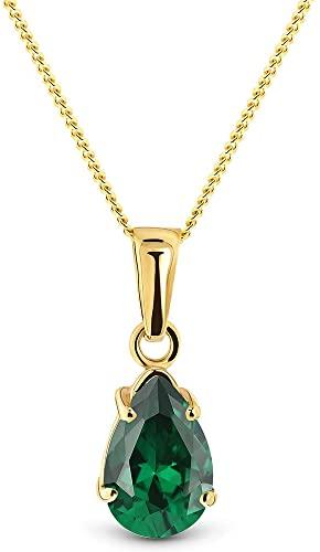 Miore Collana Donna Smeraldo Oro Giallo 9 Kt / 375 con Catena, Catenina Cm 45
