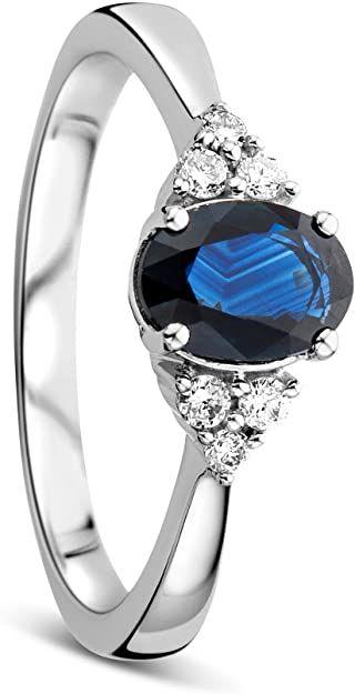 Orovi Anello Donna Solitario in Oro Bianco con Diamanti Taglio Brillante Ct 0.11 e Zaffiro Blu Ovale Ct 1.0 Oro 9 Kt / 375