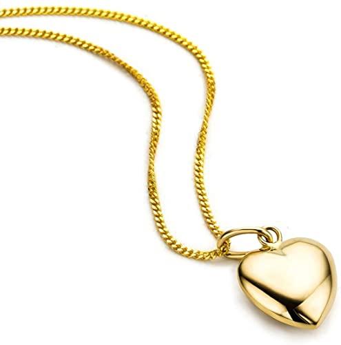 Orovi Collana - Pendente - Ciondolo Donna Cuore con Catena in Oro Giallo Oro 9 Kt / 375 Catenina Cm 45