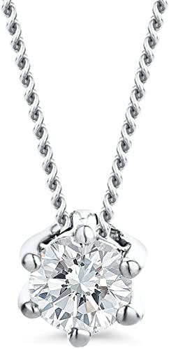 Orovi Collana da donna in oro bianco con diamante solitario 14 carati (585) e diamanti 0,12 ct, catenina da 45 cm, realizzata a mano in Italia