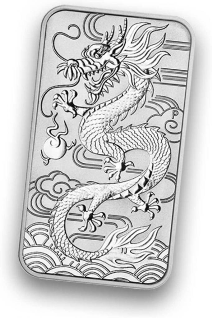 Perth Minth 1 Lingotto in argento Rettangolare con drago, 28,34 g