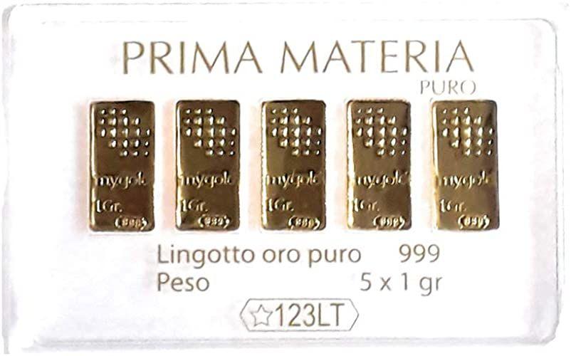 Prima Materia Cinque Lingotti da 1 gr l'Uno PM-GR5