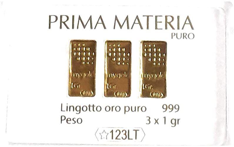 Prima Materia Oro Puro 999 in Tre Lingotti da 1 gr l'Uno PM-GR3