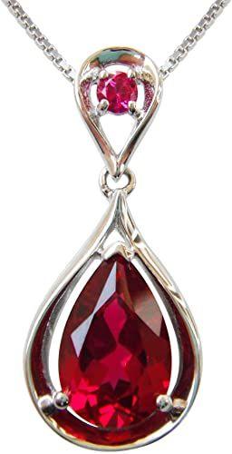 Navachi - Ciondolo con rubino o smeraldo 4,5 ct, in argento Sterling 925, placcato in oro bianco 18 ct, lunghezza catenina 40,6 cm