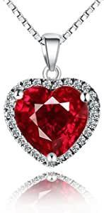 Navachi, ciondolo a forma di cuore con rubino o smeraldo 3,7 ct in argento Sterling 925, placcato in oro bianco 18 ct, lunghezza catenina 40,6 cm