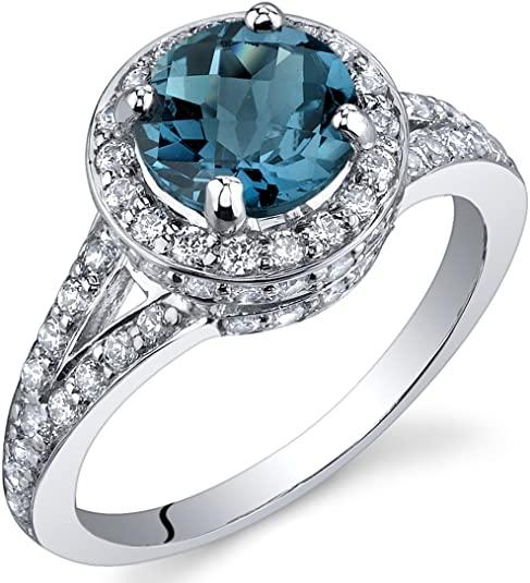 Anello in argento sterling con topazio blu di Londra 1,50 carati, misure da 1,5 a S