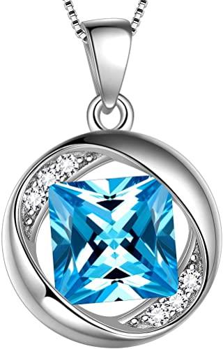 Aurora Tears Collana Birthstone gioielli in argento 925 pendente in argento sterling con catena 18
