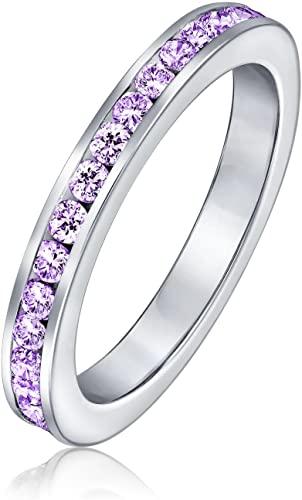 Bling Jewelry Cubic Zirconia CZ Set Canali Eternità Anello A Fascia Gemma Simulato Argento Sterling 925 12 Mese Nascita Dei Colori
