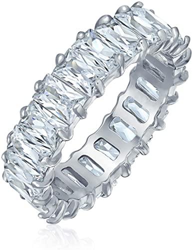 Bling Jewelry Stile Art Deco AAA CZ Eternità Baguette Anniversario Fede Nuziale Cubic Zirconia Anello Di Fidanzamento Argento 925