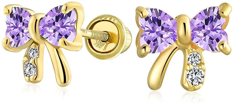 Bling Jewelry Tiny Minimalista Di Zirconia Cubica CZ Ribbon Arco Orecchini A Lobo Vero Oro Giallo 14K Più Colori