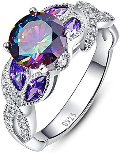 Bonlavie 3.6 carati, zaffiro arcobaleno promise wedding Band anello di fidanzamento in argento Sterling 925