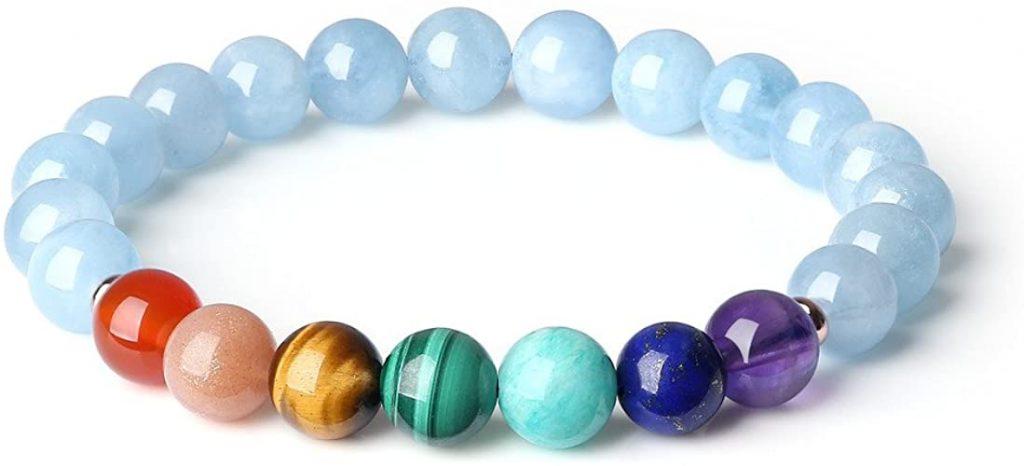 COAI Bracciale Donna e Ragazza con Pietre Naturali Benefiche in Acquamarina e Perle dei 7 Chakra