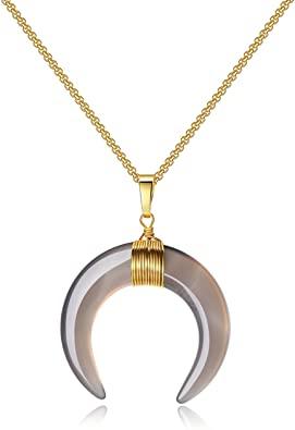 COAI Collana da Donna con Ciondolo Amuleto Doppio Corno Luna Crescente in Pietre Naturali Naturali, Catena in Acciaio Inox Placcato Oro