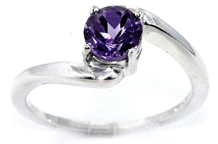 Elizabeth Jewelry 1 ct Alessandrite anello rotondo .925 in argento Sterling rodiato