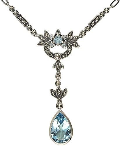 Esse Marcasite, anello in argento Sterling con topazio e marcasite, stile Art Nouveau