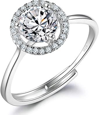 LYTOPTOP - Anelli di fidanzamento per lei, in argento Sterling 925, con zirconia cubica, regolabile, per matrimonio, anniversario, promessa, eternità