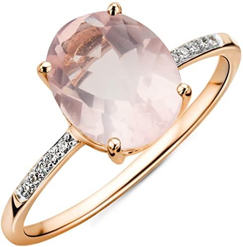 Miore Anello di Diamanti in Oro Bianco con Quarzo Ovale di 9ct