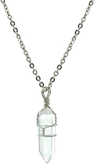 Paialco Jewelry - Collana con ciondolo della guarigione Chakra a punta, in cristallo naturale, intrecciato a mano, 45,7 cm