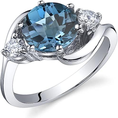 Peora 3 Stone Design 2,25 carati topazio blu Londra anello in argento Sterling misure da 3 a S
