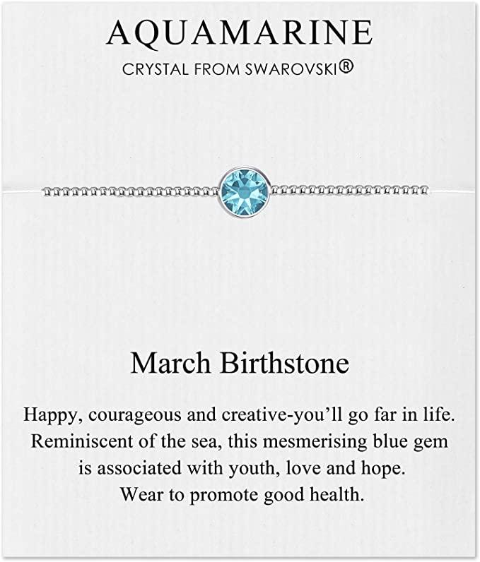 Philip Jones Marzo (Acquamarina) Bracciale Birthstone Creato con Cristalli Austriaci