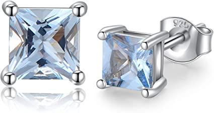 ROYANI orecchini a bottone da donna in argento sterling 925 con topazio azzurro taglio princess (1,44 ct)