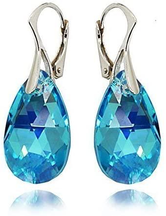Royal Crystals Orecchini da donna a goccia, color blu acquamarina, con cristalli Swarovski, in argento sterling 925, con chiusura a monachella
