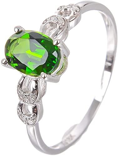 Aartoil - Anello di fidanzamento da donna, in oro bianco 18 carati, con diamanti e diopside