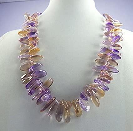 Ametrino gemma stick perline viola perline Ametrino chips Beads 15 – 18 mm 40,6 cm collana