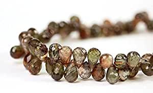 Briolette Teardrop Necklace in 14k Gold FilledFilled Filled or Sterling Silver, Natural Faceted Brown Gemstone Necklace, Jewelry 5-7mm