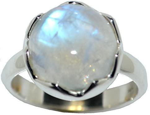 Anello con pietra di luna arcobaleno in argento Sterling 925; solitario naturale, fatto a mano