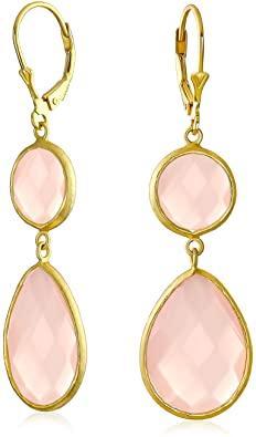 Bling Jewelry Rosa A Forma di Pera di Pietra A Goccia Penzolare Orecchini Simulato Calcedonio di Quarzo 14K Placcato Oro Argento 925
