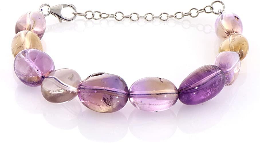 Bracciale con gemme multiple naturali con catena in argento e lucchetto regalo per uomo e donna, regalo per compleanno, anniversario e halloween, ecc.