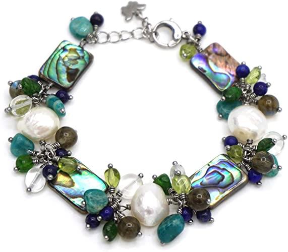 Bracciale in acciaio, madreperla, abalone con perle d'acqua dolce, stile barocco, colore: bianco, con Labradorite, Cristale di rocca, peridoto, Diopside, Lapis lazuli, ecc.