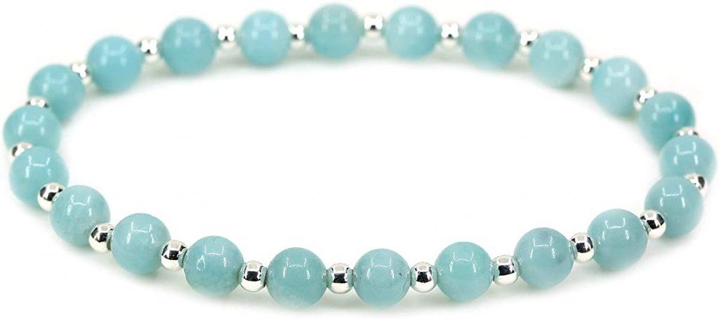 Braccialetto elastico con perline in argento S925 e perle in pietra naturale da 6 mm, unisex, 17 cm
