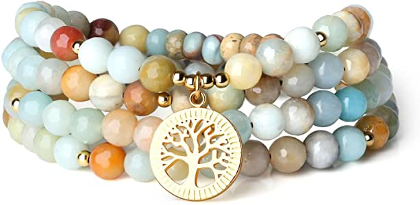 COAI Bracciale Collana 108 Perle Mala in Amazzonite Sfaccettata con Amuleto Albero della Vita in Acciaio Inox, Bracciale Multistrato in Pietre Naturali Benefiche