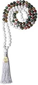 COAI Mala 108 Perle Annodate a Mano Una ad Una in Pietre Naturali con Nappa