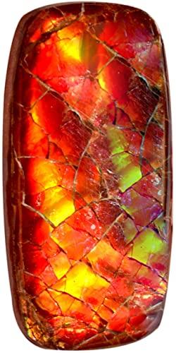 Cabochon in Naturale, Rosso Fuoco Rettangolo, Retro Piatto, Dimensioni 29x14x5 MM, Ammoniti Rosso Lampeggiante, Ciondolo Gioielli Making AG-15115